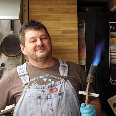 Kevin Ghiglione with his trusty blowtorch
